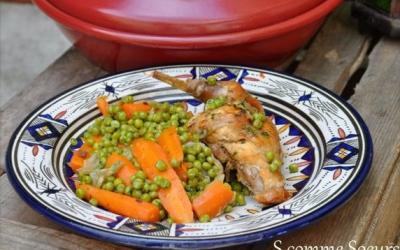 Tajine de lapin aux petits pois et aux carottes
