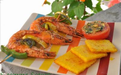 Brochettes de Gambas marinées au poivron et au citron